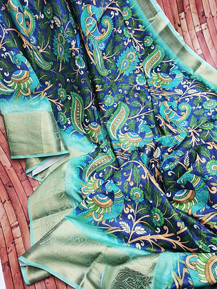 Handloom Linen Saree With Digital Print