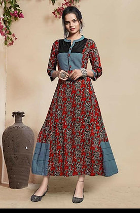Rayon Designer Gown with Handwork and Print