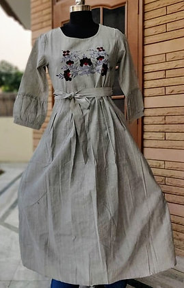 Cotton Silk Embroidered Long Gown with Belt
