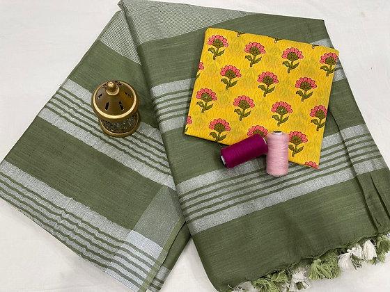 Handloom Cotton Saree with Blouse