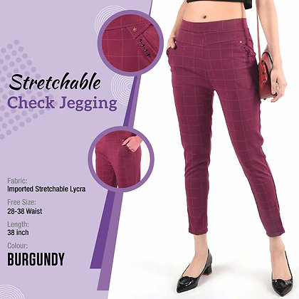 Lycra Stretchable Checkered Jegging