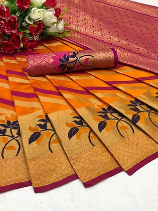 Cotton Silk Saree with Jacquard Rich Contrast Pallu