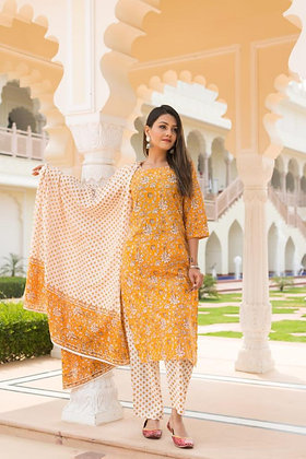 Printed Kurti and Palazzo with Dupatta