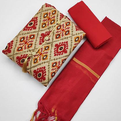 Manipuri Foil Print Dress Material Suit