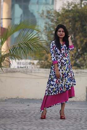 Cotton Printed High-Low Dress