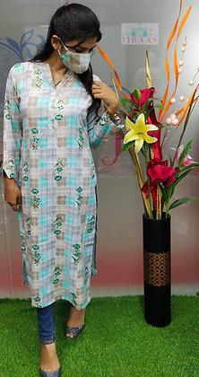 Rayon Fabric Hand Work Embroidery Kurti with Matching Mask
