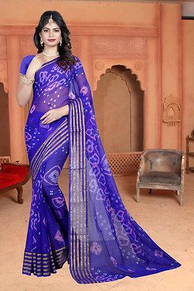Chiffon Saree with 6 Patti Zari Weaving Hand Bandhej
