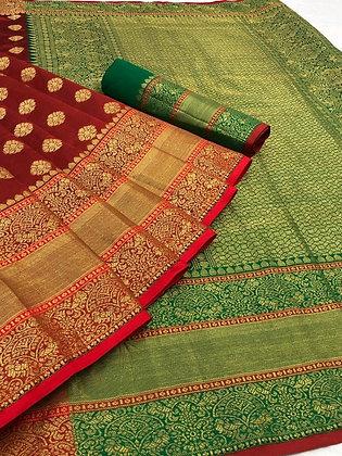 Banarasi Silk - Jacquard Rich Contrast Pallu