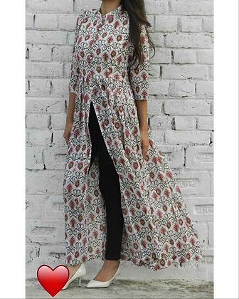 Printed Crepe Front and Middle Slit Kurti