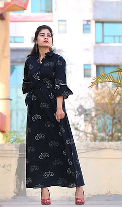 Cycle Printed Designer Collared Long Dress with Belt