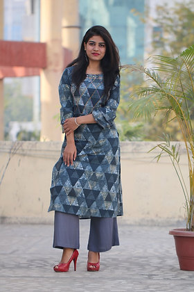 Rayon Printed Kurti  and Palazzo with Kantha Work and Bell Sleeves