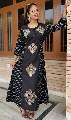 Cotton Printed Embroidered Gown