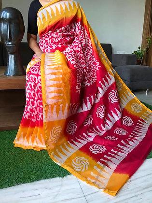 Printed Chanderi Silk Saree with Blouse