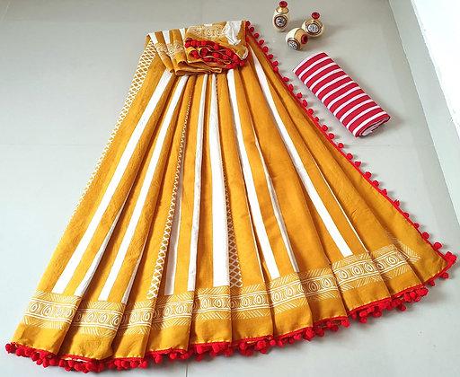 Cotton Pom Pom Sarees with Blouse