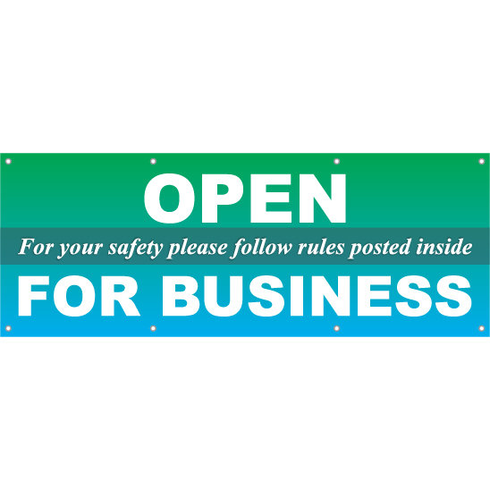 We're Open For Business Hanging Banner