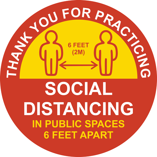 Thank You For Practicing Social Distancing Round Label (English or Spanish)