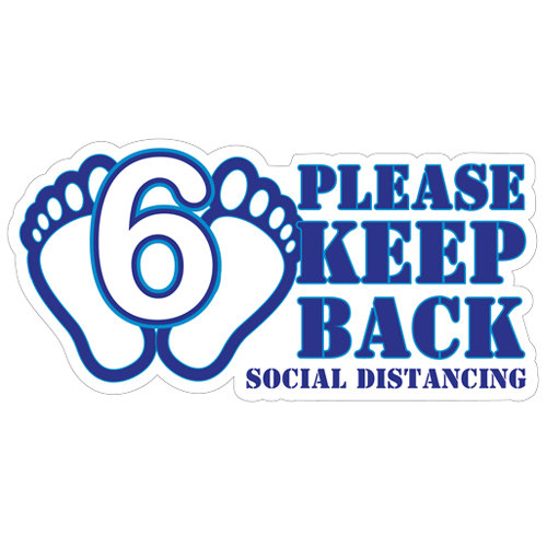 Please Keep 6 Feet Back Social Distancing Label (English or Spanish)
