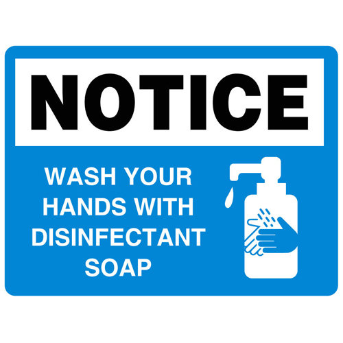 Wash Your Hands With Disinfectant Soap Vinyl Label