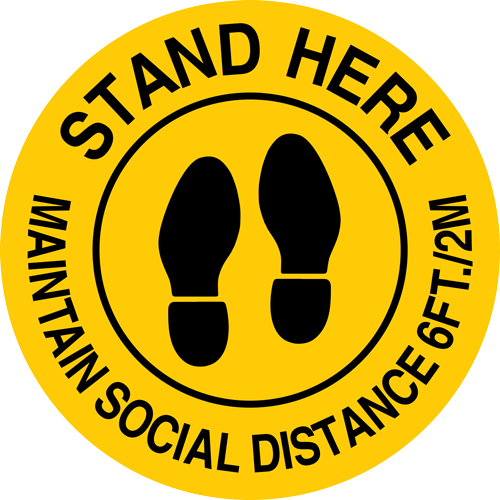 Stand Here Maintain Social Distance 6 Ft Round Label (English or Spanish)