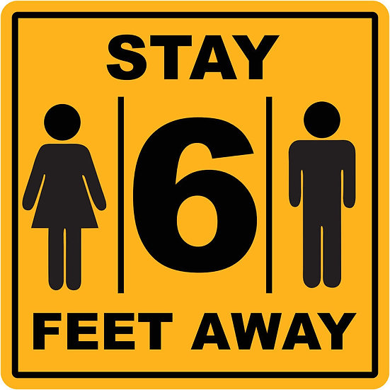 Stay 6 Feet Away Square Vinyl Label