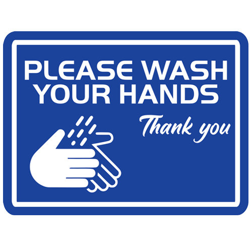 Please Wash Your Hands Rectangular Label (English or Spanish)