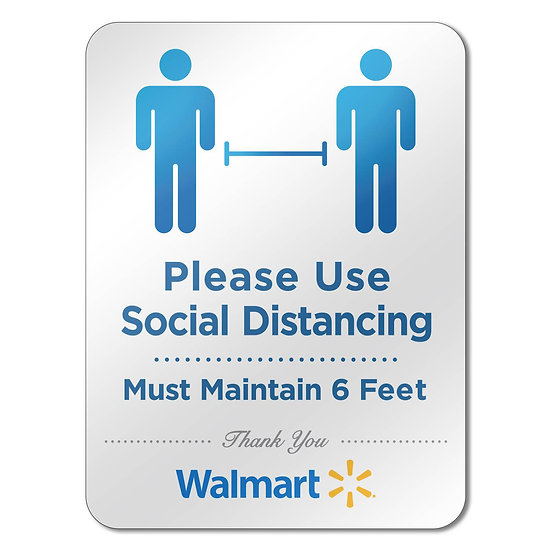 Social Distance Reminder Acrylic Sign (Pack of 6)
