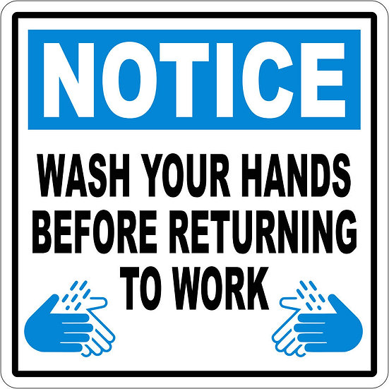 Wash Your Hands Before Returning To Work Vinyl Label