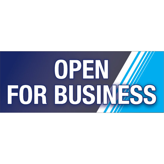 Open For Business Hanging Banner