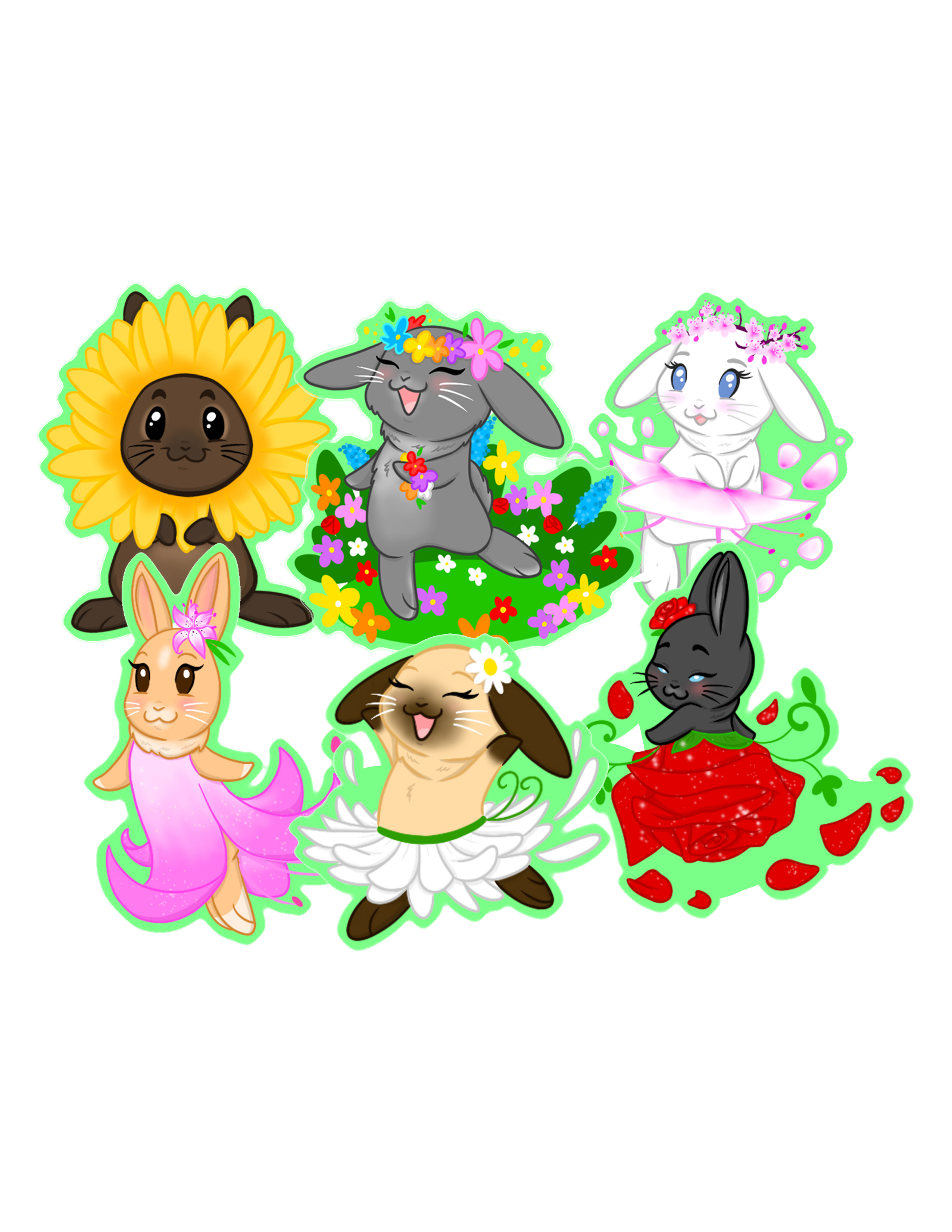 Garden Party Bunny Stickers