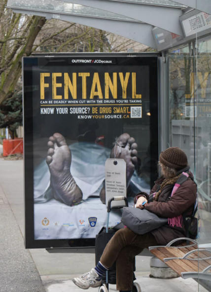 An advertisement at a bus stop in Vancouver, BC, promoting greater awareness about drug contents. Source: cbc.com