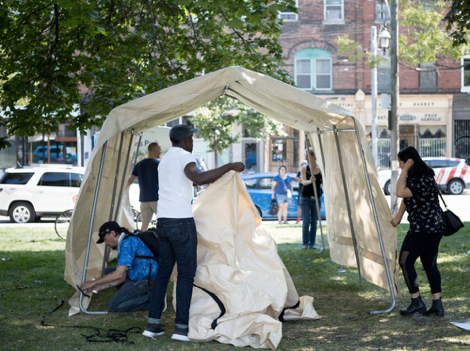 People set up Toronto's first safe injection site in Moss Park. Source: nationalpost.com