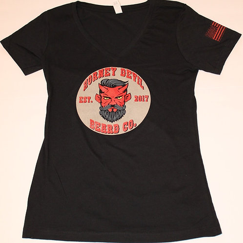 Premium Women's V-Neck Horney Devil Beard Co. Logo t-shirt Black