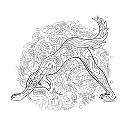 Yoga Animals Downward Dog - A4 Colouring Page