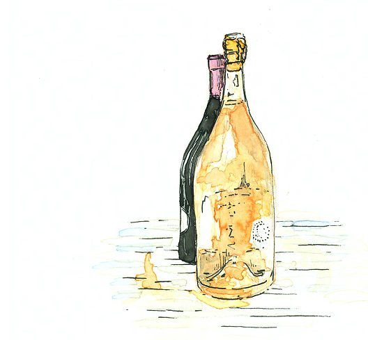 stylized water color illustration of rose wine bottle infront of darker colored wine bottle.