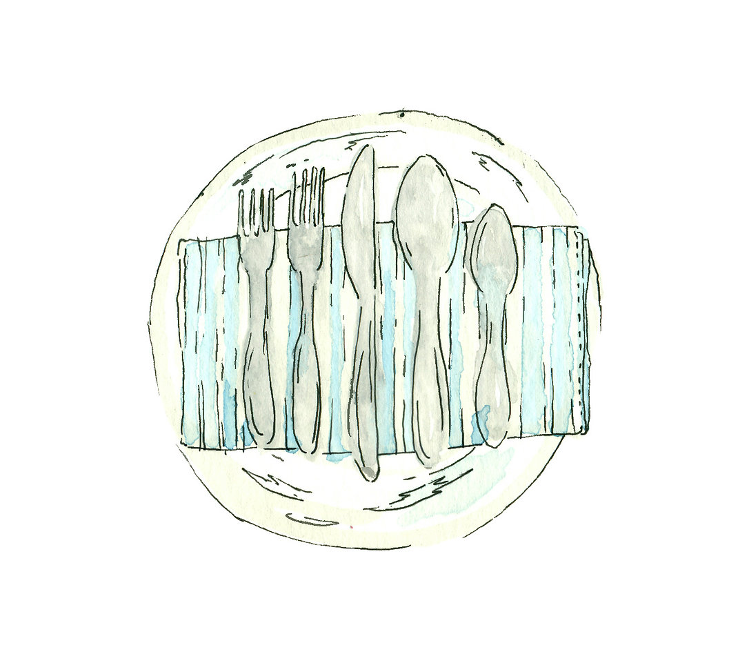 stylized watercolor image of plate with napkin and utensils