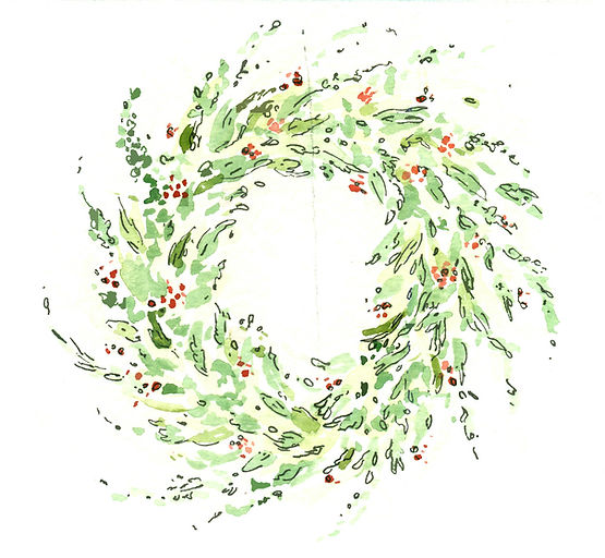 Watercolor illustration of a wreath
