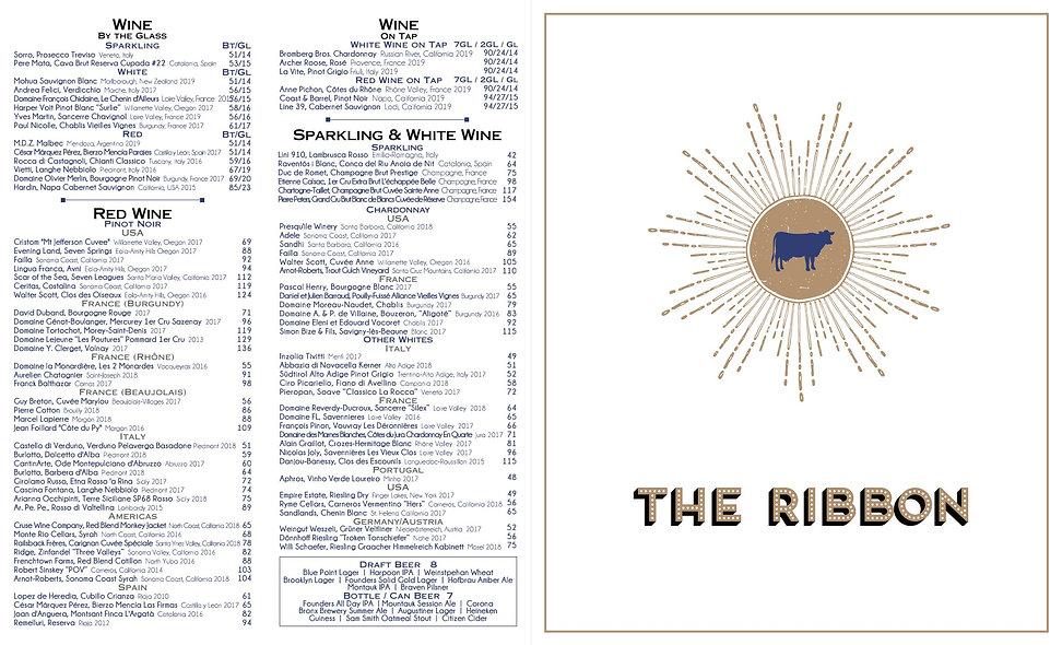 The Ribbon Al Fresco Wine List