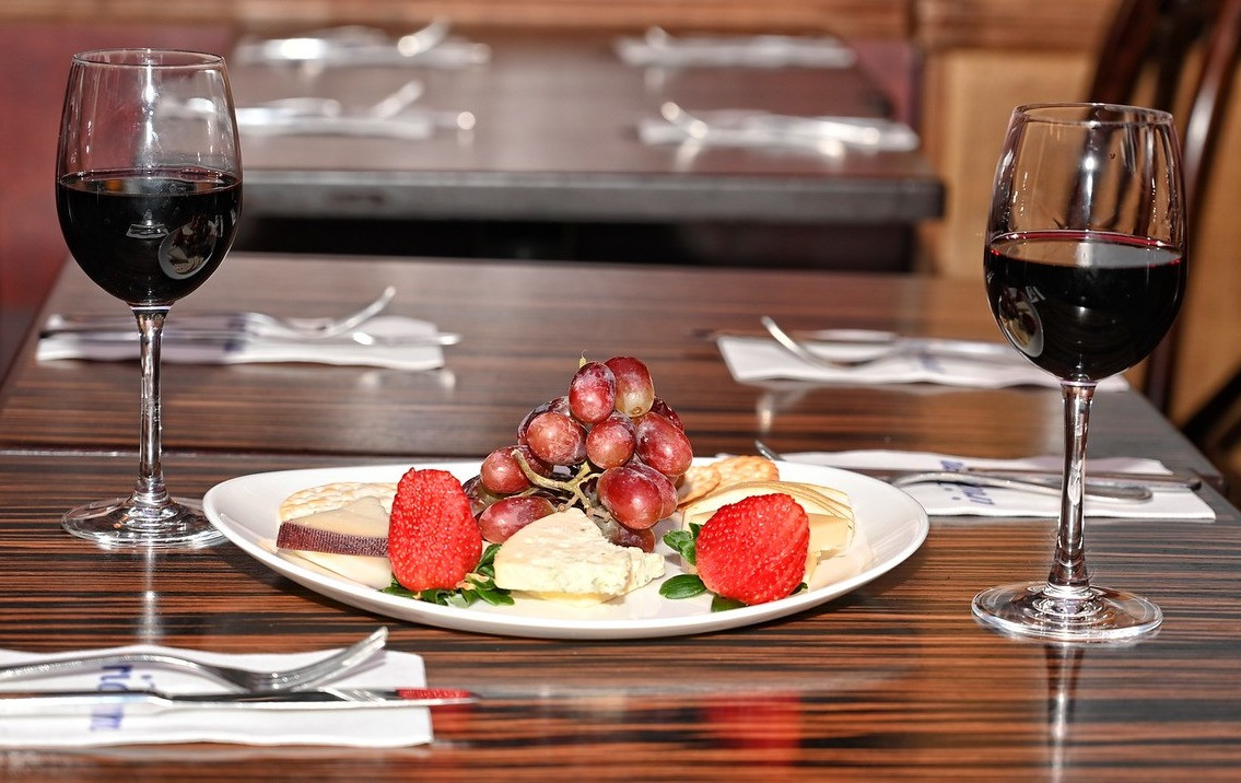 Cheese & Fruit Platter and Red Wine