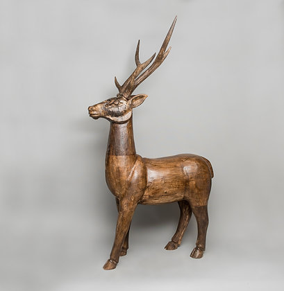 Hand Carved Wooden Reindeer Medium