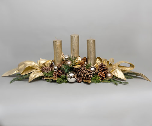 Luxury Artificial Candle Cenetrpiece Gold, Hand Made by Yes Flowers