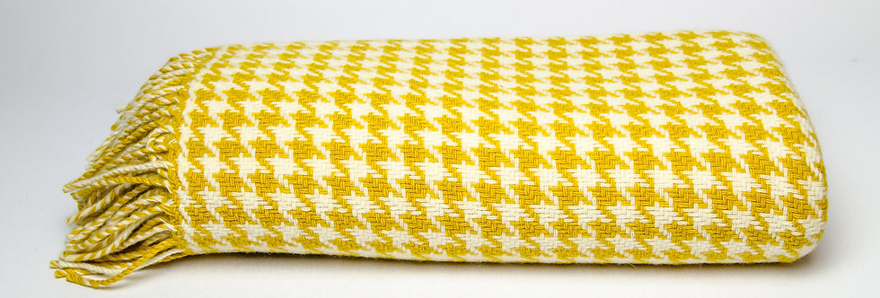 Yellow Houndstooth Throw by Foxford