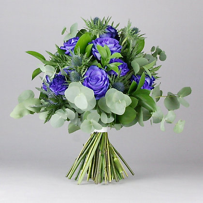 One dozen long stem blue roses