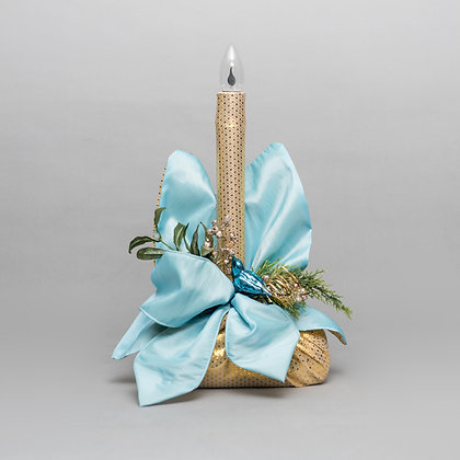 Traditional Candle Log Turquoise & Gold, Hand Made by Yes Flowers
