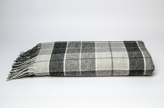 Grey & White Tartan Throw by Foxford