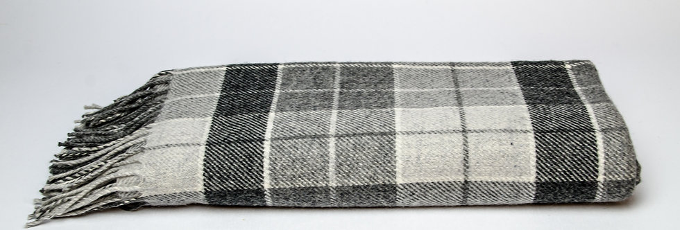 Grey & White Tartan Throw by Foxford