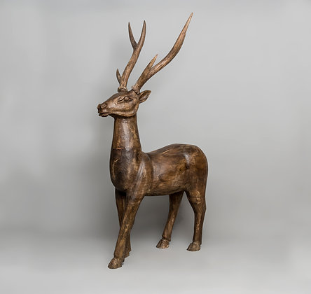 Hand Carved Wooden Reindeer Small