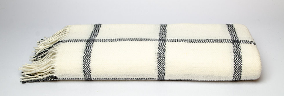 White & Grey Windowpane Throw by Foxford