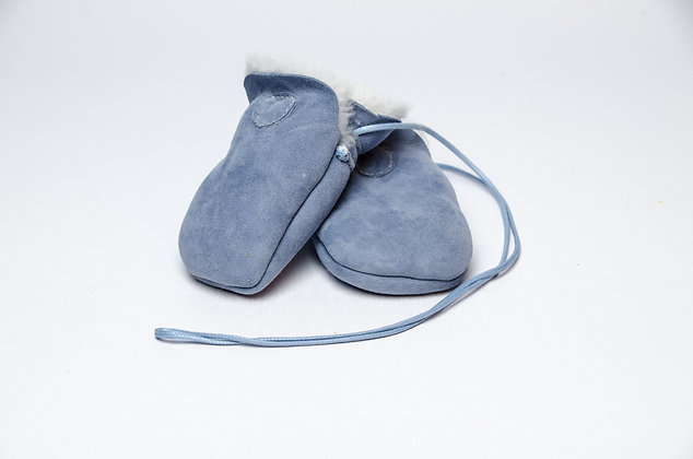 Sheepskin Baby Mittens Blue