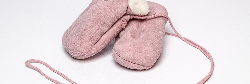 Sheepskin Baby Mittens Pink