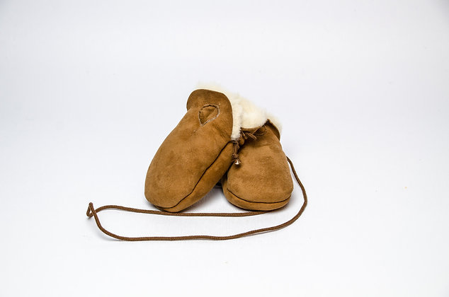 Sheepskin Baby Mittens Brown